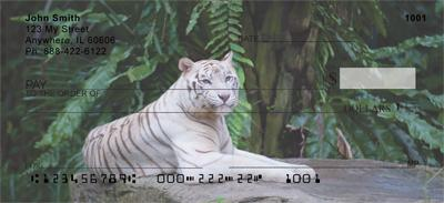 White tigers Vinyl checkbook cover