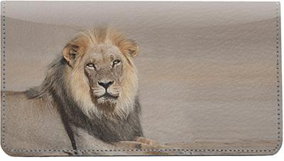 Safari Big Cats Leather Checkbook Cover