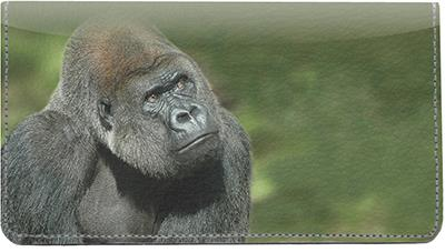 Majestic Gorillas Leather Checkbook Cover
