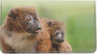 Red-bellied Lemurs Leather Checkbook Cover