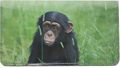 Baby Chimp Leather Checkbook Cover