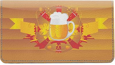 Beer Vignette Leather Checkbook Cover