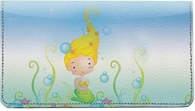 Mermaid Children Leather Checkbook Cover