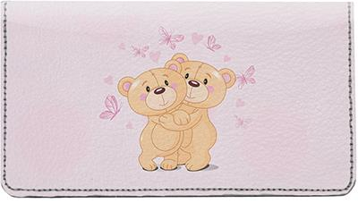 Romantic Teddy Bears Leather Checkbook Cover