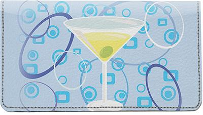 Retro Martini Leather Checkbook Cover