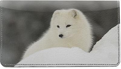 Arctic Foxes Leather Checkbook Cover