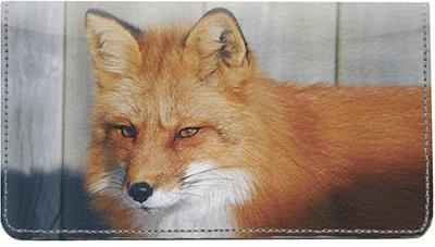 Wild Foxes Leather Checkbook Cover