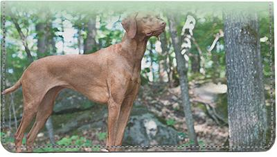 Vizslas On The Hunt Leather Checkbook Cover