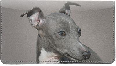 Italian Greyhounds Leather Checkbook Cover