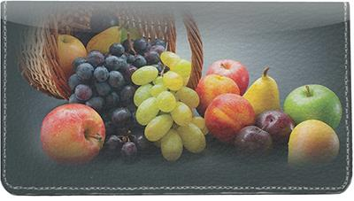 Fruit Basket Leather Checkbook Cover