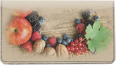 Autumn Fruits Leather Checkbook Cover