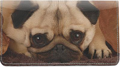 Perfect Pugs Leather Checkbook Cover