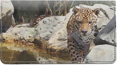 Leopards Leather Checkbook Cover