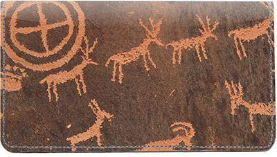 Petroglyphs Leather Checkbook Cover