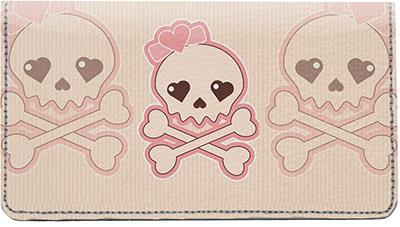 Girly Skulls Leather Checkbook Cover