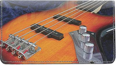 Bass Guitars Leather Checkbook Cover
