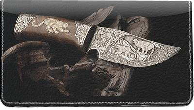 Hunting Knives Leather Checkbook Cover