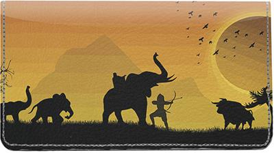 African Hunters Leather Checkbook Cover