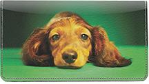 Adorable Dachshunds Leather Checkbook Cover