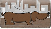 Cartoon Dachshunds Leather Checkbook Cover