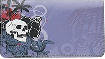 Hawaiian Skull Leather Checkbook Cover