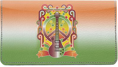 Peace And Music Leather Checkbook Cover