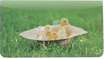 Cute Ducklings Leather Checkbook Cover