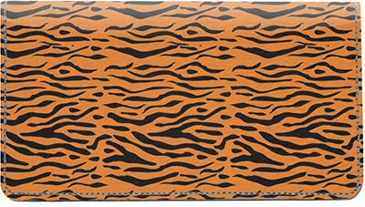Wild Tiger Stripes Leather Checkbook Cover