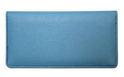 Light Blue Textured Leather Checkbook Cover