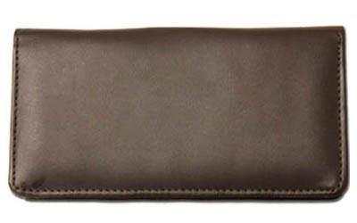 Dark Brown Smooth Leather Checkbook Cover