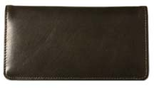 Dark Olive Green Smooth Leather Checkbook Cover