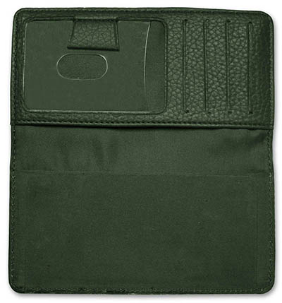 Forest Green Leather Checkbook Cover