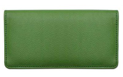 Green Textured Leather Checkbook Cover