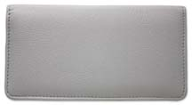 Grey Leather Checkbook Cover