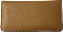 Tan Textured Leather Checkbook Cover