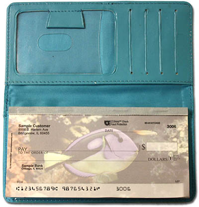 Teal Smooth Leather Checkbook Cover