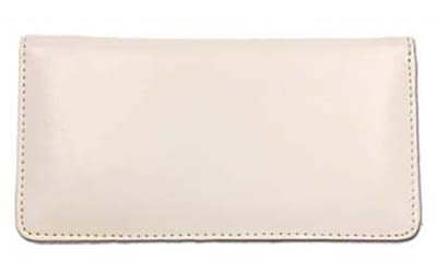 White Smooth Leather Checkbook Cover
