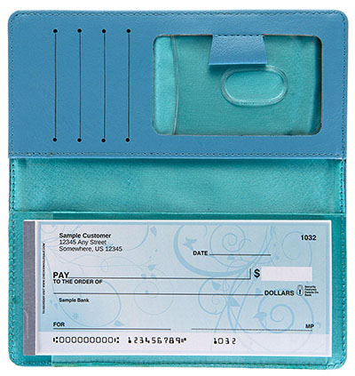 Light Blue Leather Side Tear Checkbook Cover
