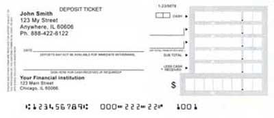 Personal deposit tickets for Checking deposit slip template