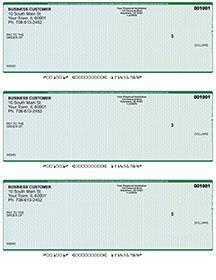 Blue Green Laser Business 3 to a Page Voucher Checks