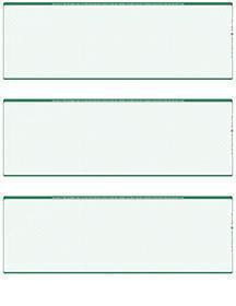 Green Safety Blank Stock For 3 to a Page Voucher Computer Checks