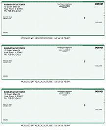 Green Safety Laser Business 3 to a Page Voucher Checks