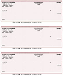 Burgundy Safety Laser Business 3 to a Page Voucher Checks